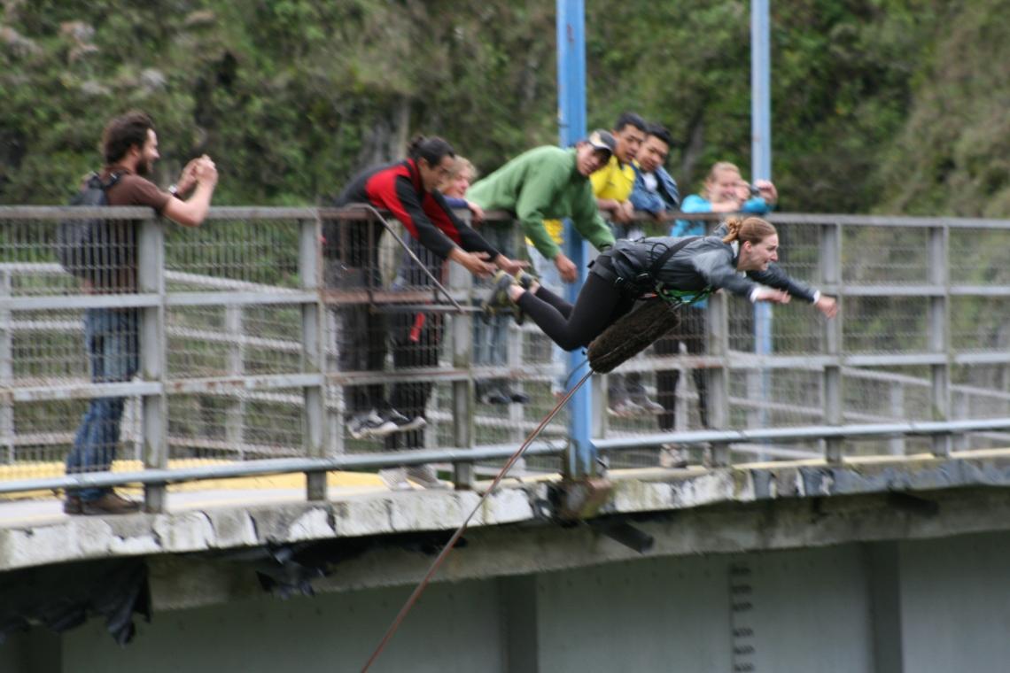 Bridge jumping in Banos, Ecuador