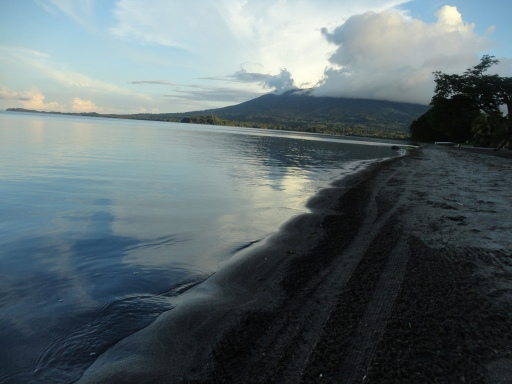 The black sand of Playa Santa Domingo