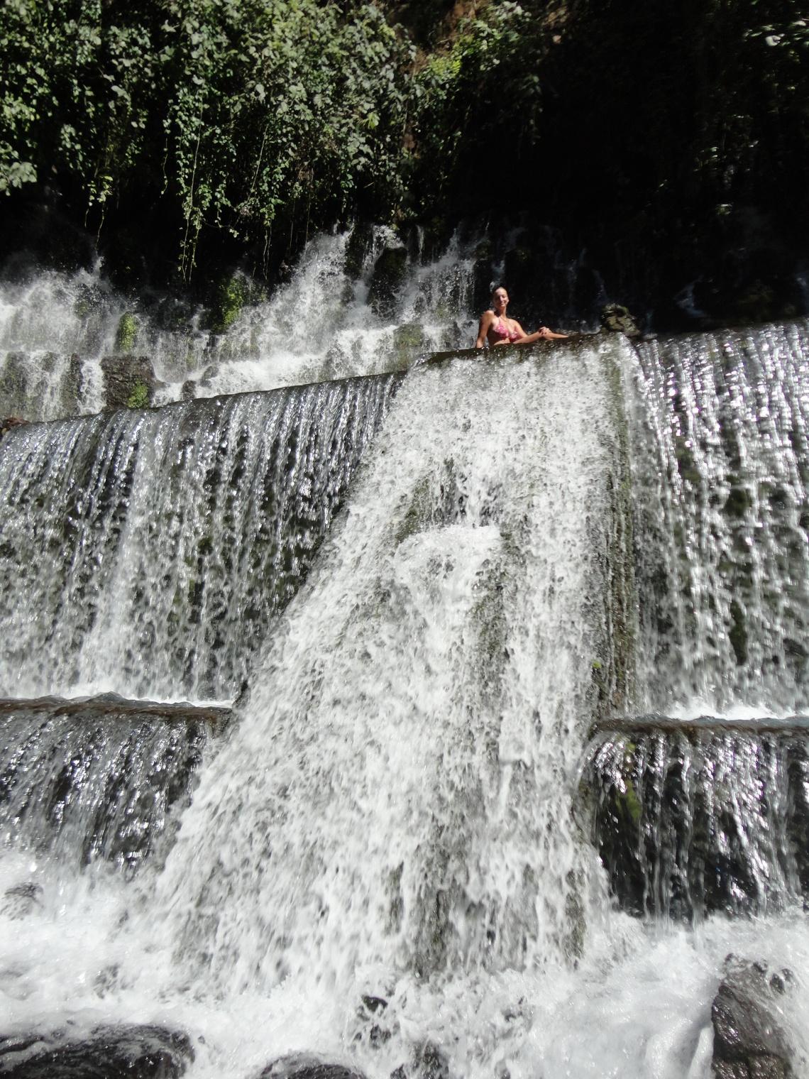 Cooling off at a waterfall outside of Juayua
