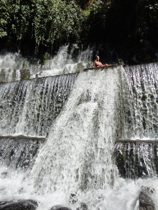 Cooling off at a waterfall outside of Juayua