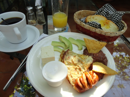Typical Salvadorian breakfast--good coffee, for once