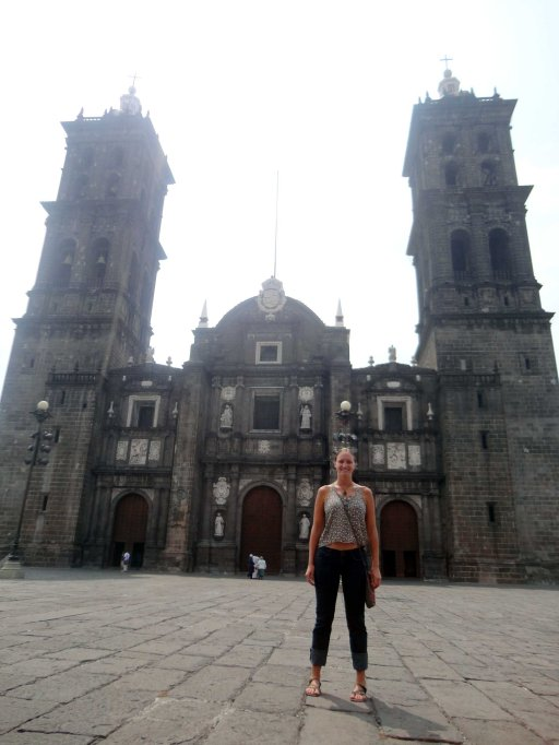In front of the Cathedral in Puebla