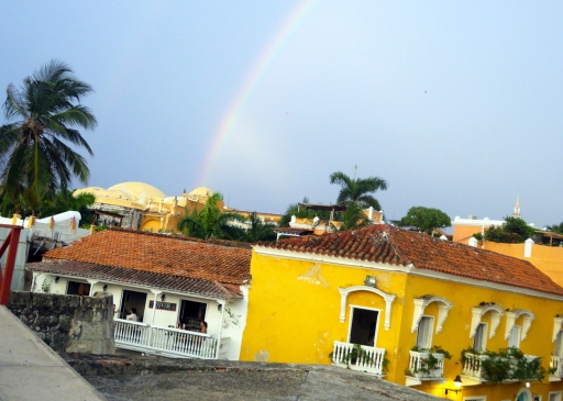 A rainbow over the vibrant streets of Cartagena, Colombia