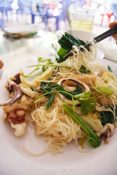 Squid noodles at a roadside seafood restaurant
