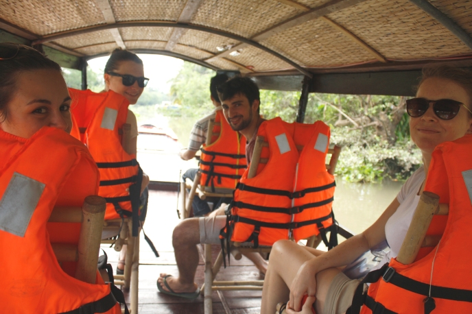 Our gang cruising down the Mekong