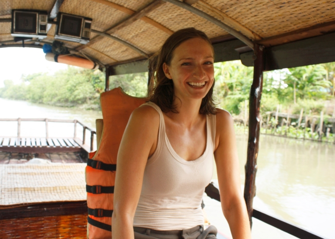 Feel quite happy and relaxed during our cruise down the Mekong