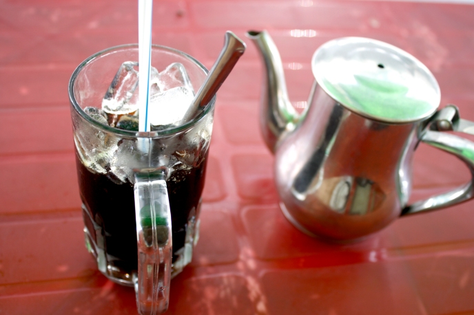 Ca Phe Da or iced Vietnamese coffee, from a street vender